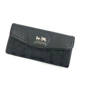 Coach Black Classic Signature C TriFold Wallet